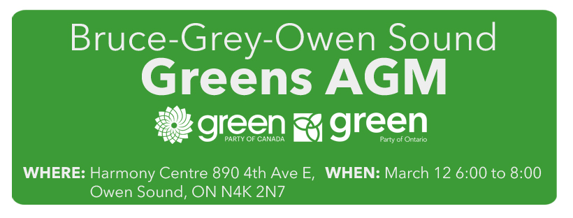AGM Agenda for the Green Party of Ontario Constituency Association (CA) and the Green Party of Canada Electoral District (EDA)